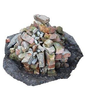 3d model pile bricks cityscape