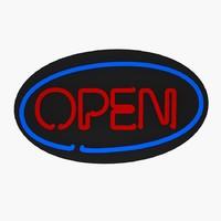 3d model open neon sign