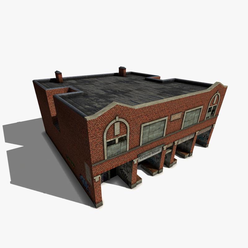 free derelict brick house 3d model