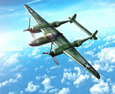 3d p-38 lightning aircraft military