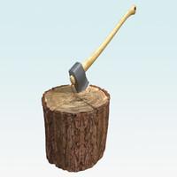 3d wooden axe model