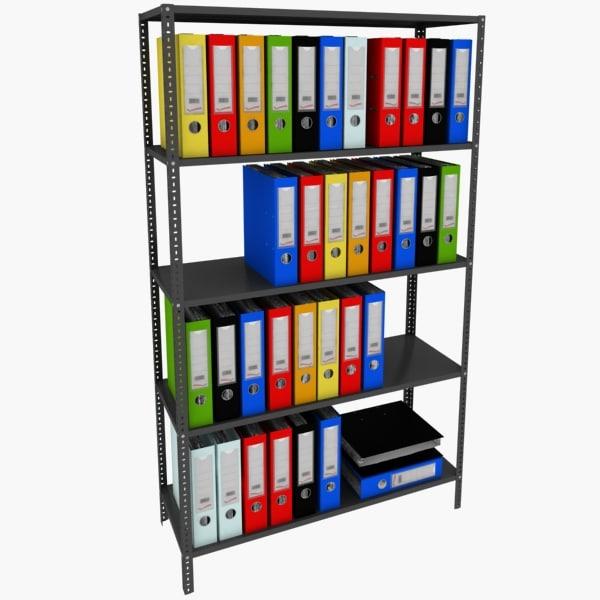 3d model file folder shelf