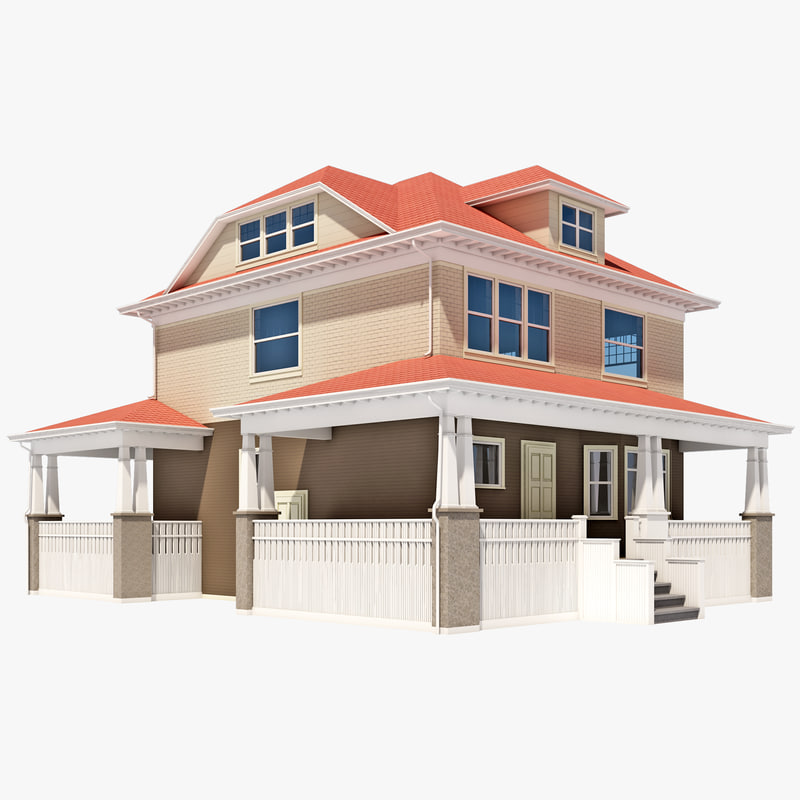 3d american foursquare house model