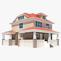 3d american foursquare house model