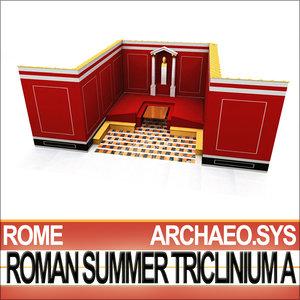 3d model ancient roman summer triclinium