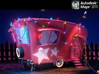 caravan car 3d fbx