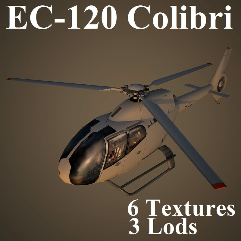 eurocopter colibri low-poly 3d max