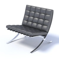 3d model of chair mies van der rohe