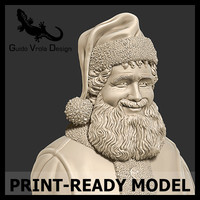 3d printable santa claus bust model