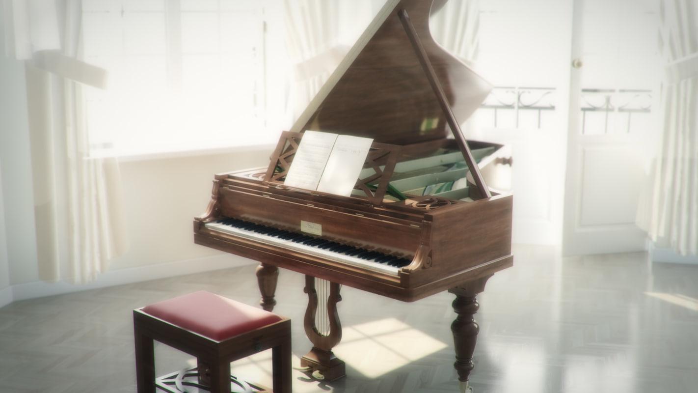 3d model antique pleyel grand piano