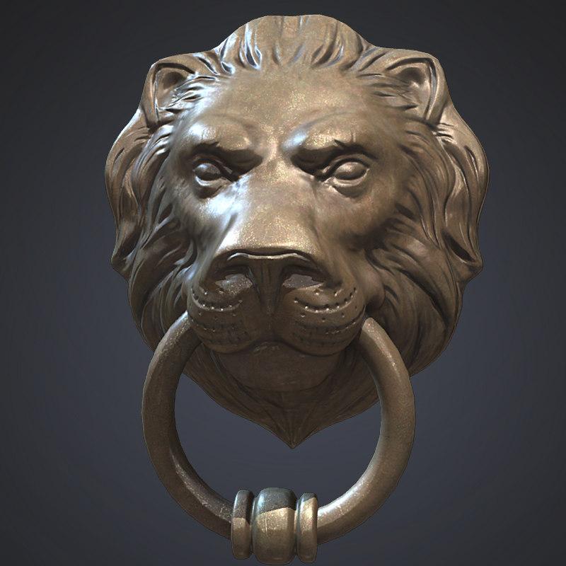 lion head door knocker obj