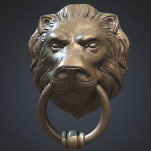 lion head door knocker obj
