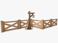 3d model scene tree fence