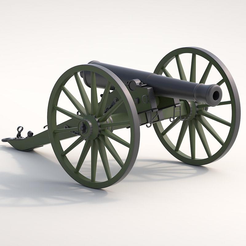 4 cannons set 3d max