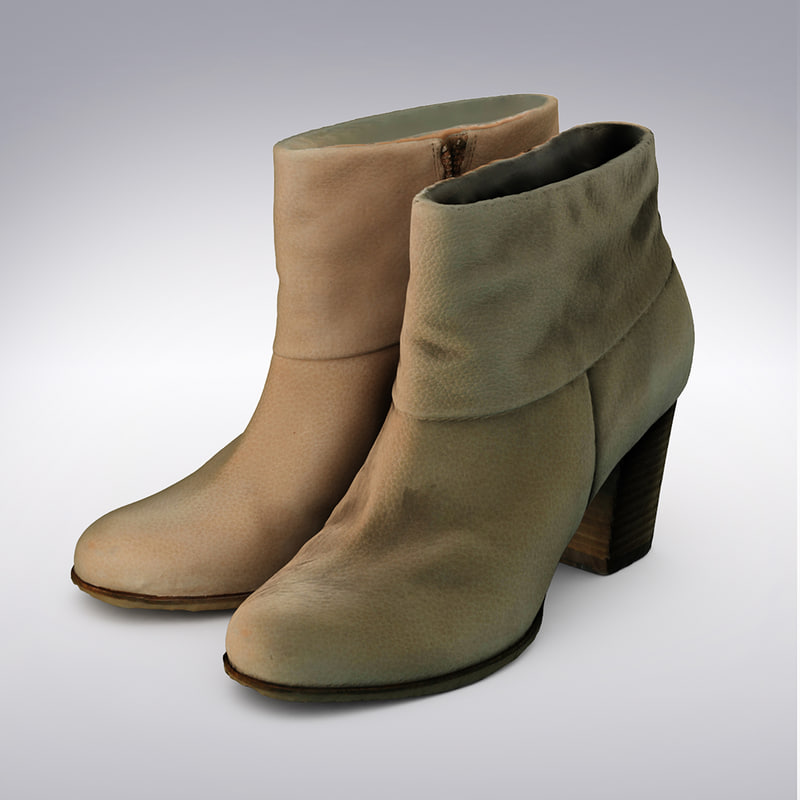 3d model leather ankle boot scanning