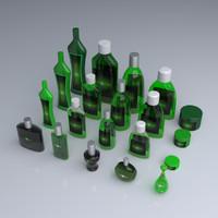 cosmetic bottles 3d fbx