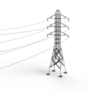 powerline concrete supports 3d model