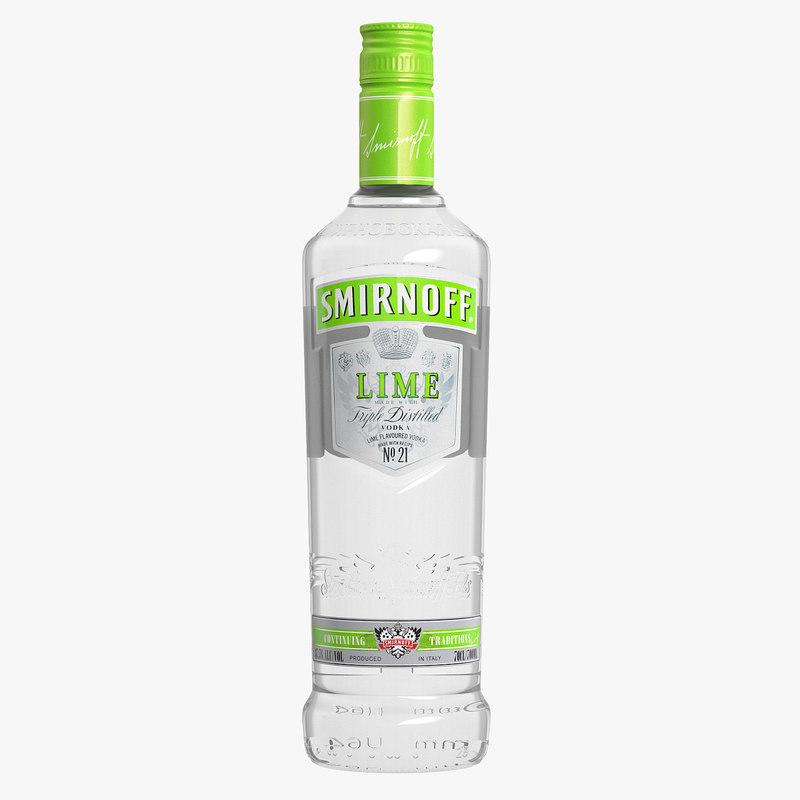 smirnoff lime vodka bottle 3d max