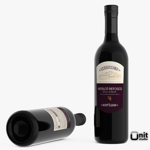 3d bottle wine merlot refosco model