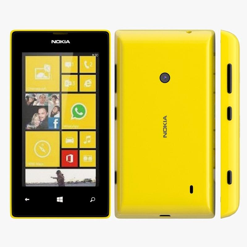 nokia lumia 525 yellow 3d model