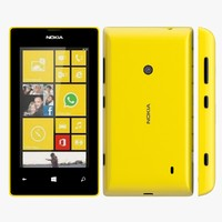 nokia lumia 525 yellow 3d model