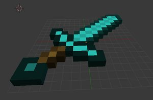 3d model of minecraft sword diamond