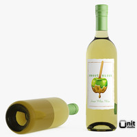 3d model bottle wine white