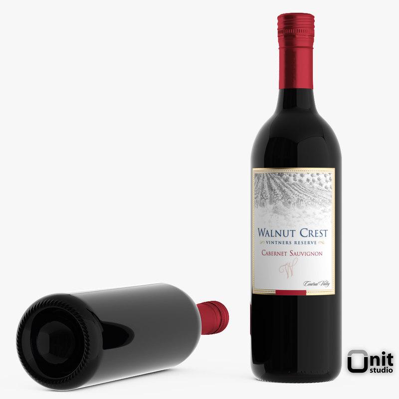 3d bottle wine cabernet sauvignon