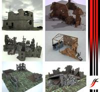 3d ruin wall