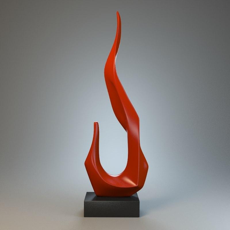 3d model of sculpture flame