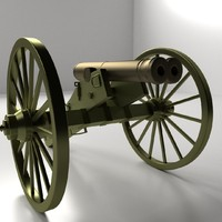 double barreled cannon 3d model
