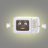 3d model cartoon microwave
