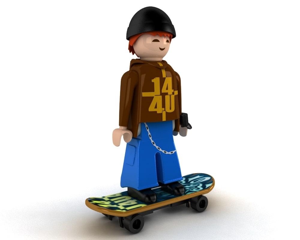 playmobil skater toy 3d model