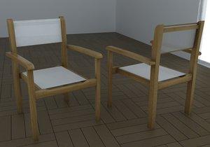 armchair capri stackable 3d model