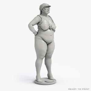 free chubby girl - ready 3d model