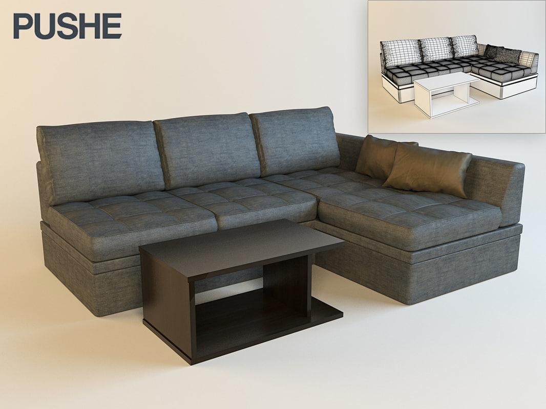3d model pushe bruno sofa