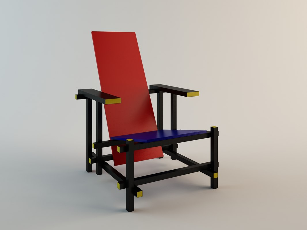 3d model red blue chair gerrit rietveld