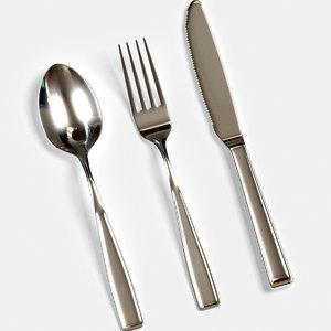3d silverware set modeled