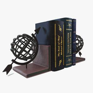 3d globe bookend books