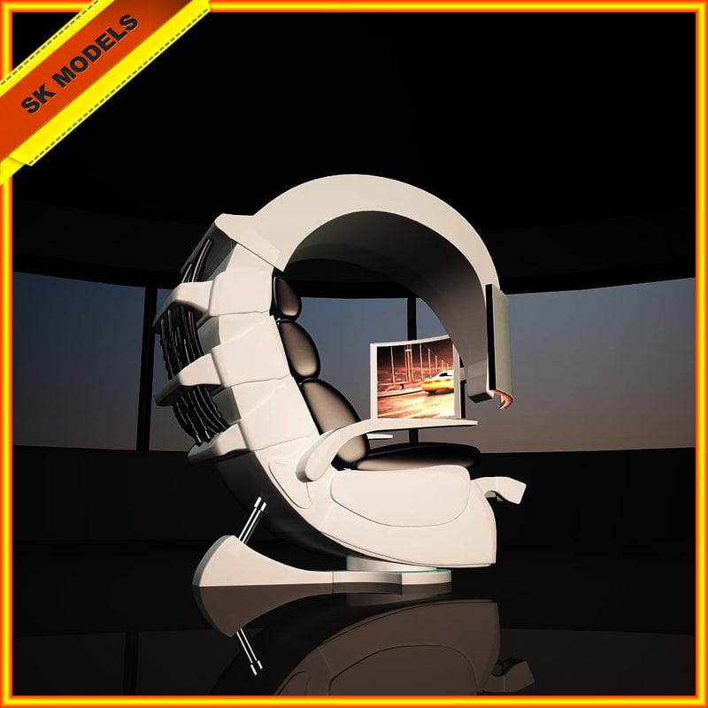 high tech armchair 3d model