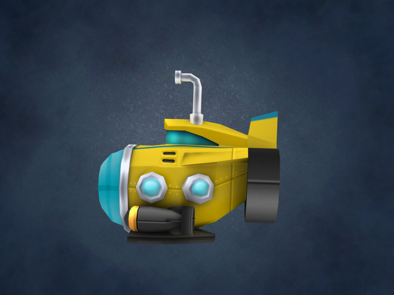 cartoon yellow submarine 3d model