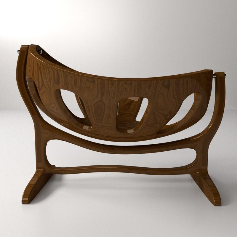 wooden crib 3d model