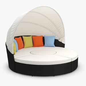 quest synthetic rattan furniture 3d model