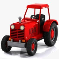 cartoon tractor toon 3d model