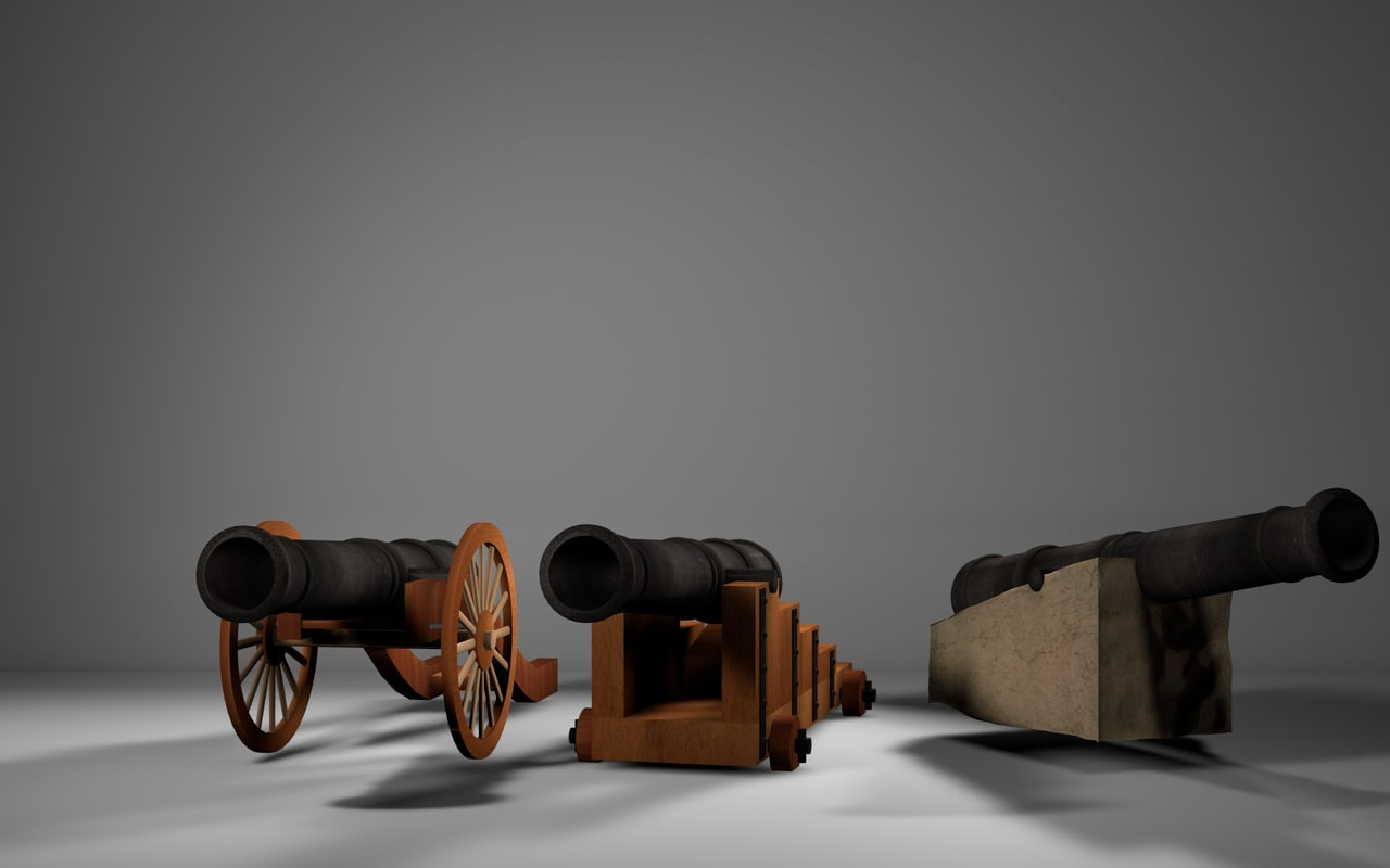 3d model 3 cannons types