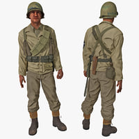 American WWII Infantry Soldier Rigged