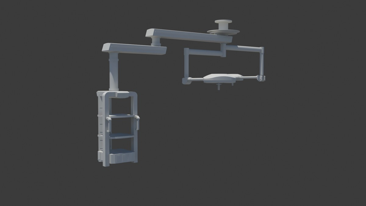 3d model surgery room boom arms