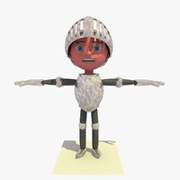 3d knight shining armor cartoon character