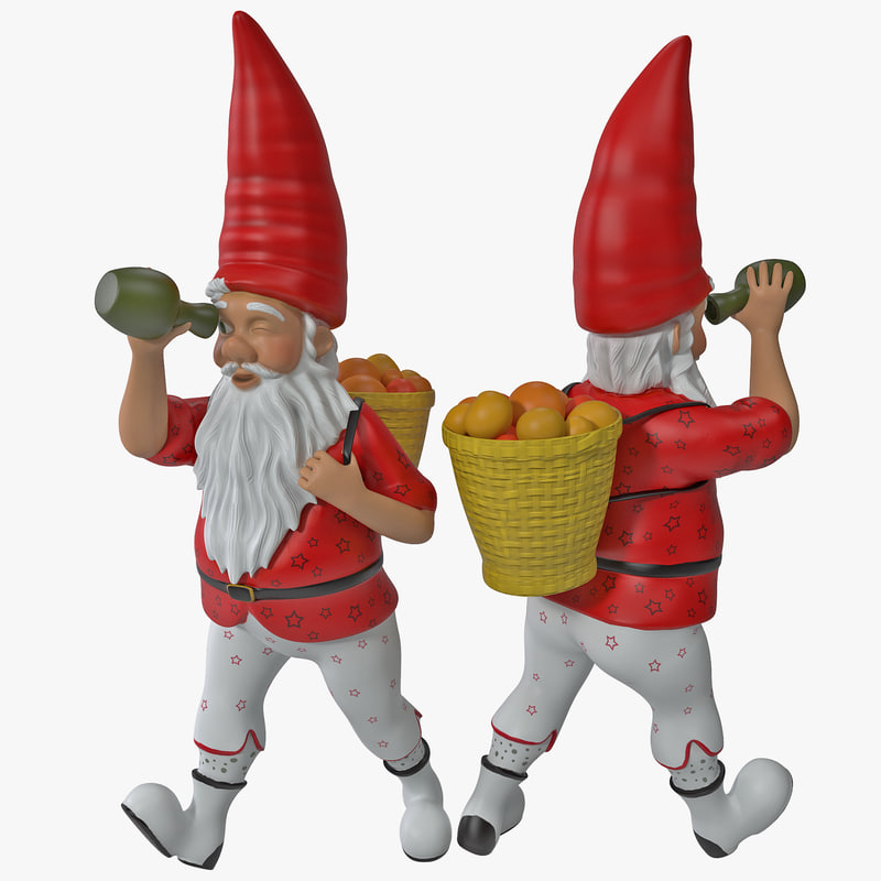 3d lawn gnome backpack model