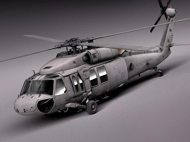 3d interior black sikorsky uh-60a